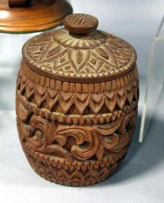 carved wood jar