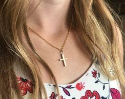 brass cross necklas