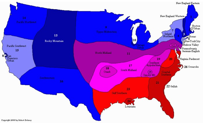 Dilalects by region US