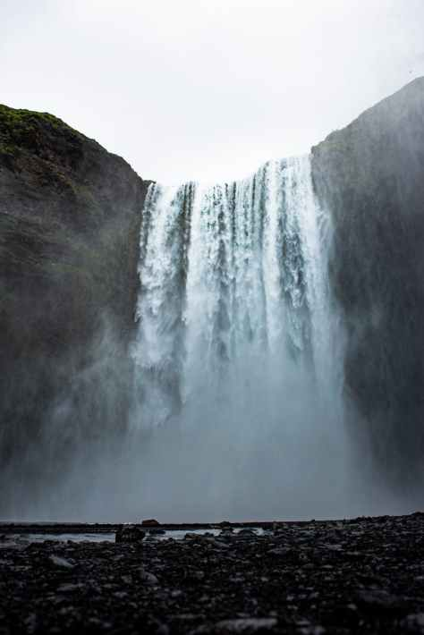 low angle photography of waterfalls